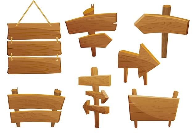 Conjunto de placas de sinalização de madeira estilo desenho animado
