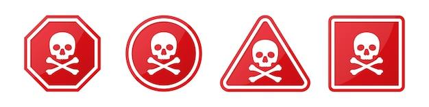 Conjunto de placas de sinalização de perigo com caveira e ossos cruzados em diferentes formas em vermelho