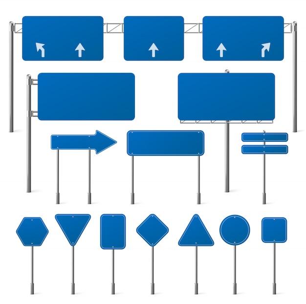 Conjunto de placas de trânsito azuis em branco