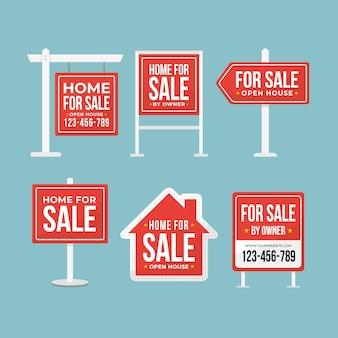 Conjunto de placas de venda de imóveis