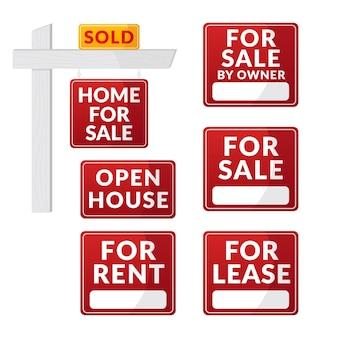 Conjunto de placas de venda imobiliária