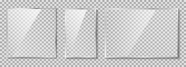 Conjunto de placas de vidro. ilustração de vidro em fundo transparente
