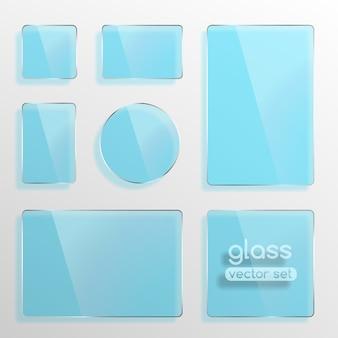 Conjunto de placas de vidro, quadrado, retângulo e redondo na cor azul