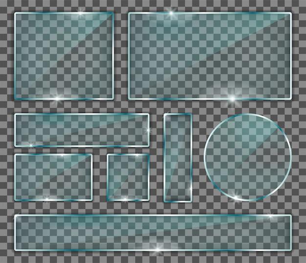 Conjunto de placas de vidro transparente
