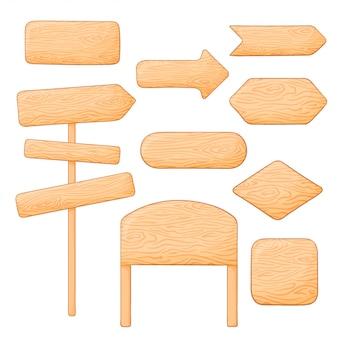 Conjunto de placas e sinais de madeira diferentes. setas em branco e apontando