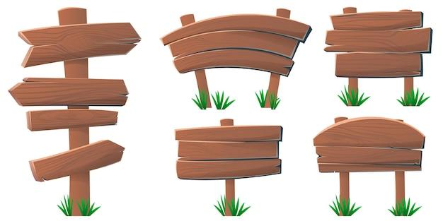 Conjunto de placas e sinalização de madeira