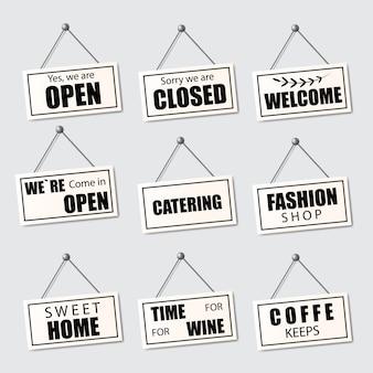 Conjunto de placas realistas aberto, fechado e bem-vindo