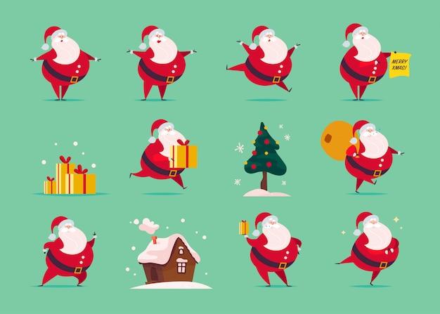 Conjunto de plana engraçada personagem de papai noel isolada sobre fundo verde - carrinho, levar saco de presentes, mantenha a caixa de presente, pular, andar, sorrir. árvore do abeto, casa de gengibre. cartão, banner, web, animação etc