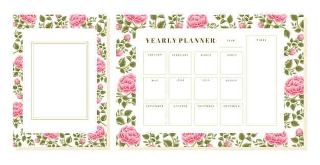 Conjunto de planejador anual de flor rosa vintage e modelo de memorando
