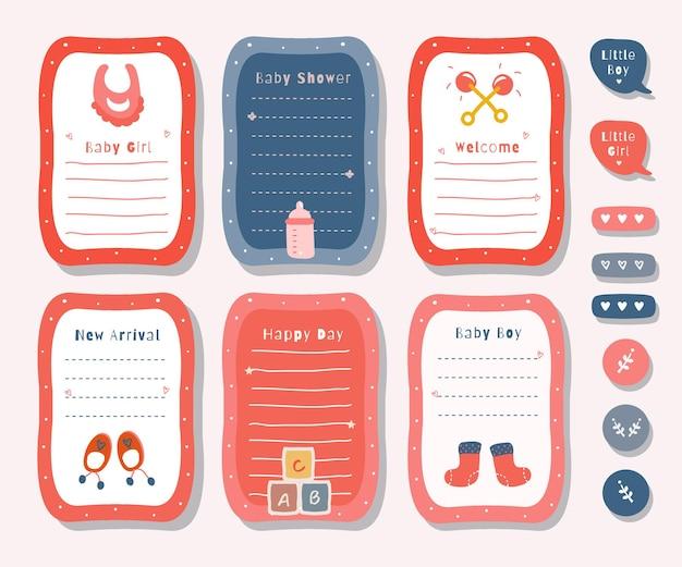 Conjunto de planejador com gráfico de tema de chá de bebê de ilustração bonito para registro no diário, adesivo e álbum de recortes.