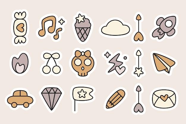 Conjunto de planejador de adesivos doodle
