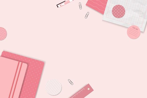Conjunto de planejador de bloco de notas rosa