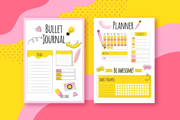Conjunto de planejador de diário com marcadores