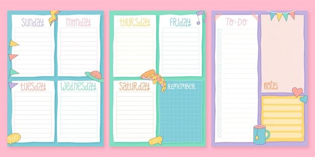 Conjunto de planejador de diário criativo