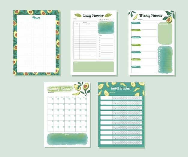 Conjunto de planejador de rastreamento de hábitos mensais semanais diários em aquarela abacate cor verde-azulado design illu