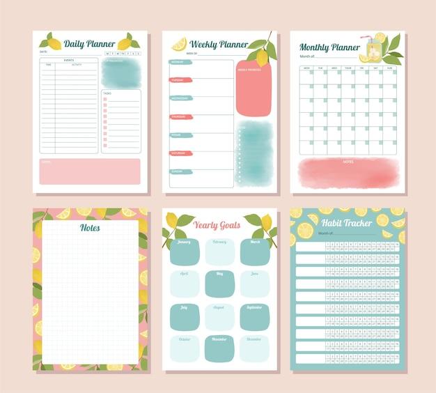 Conjunto de planejador de rastreamento diário mensal anual de hábitos com ilustração de limão em aquarela