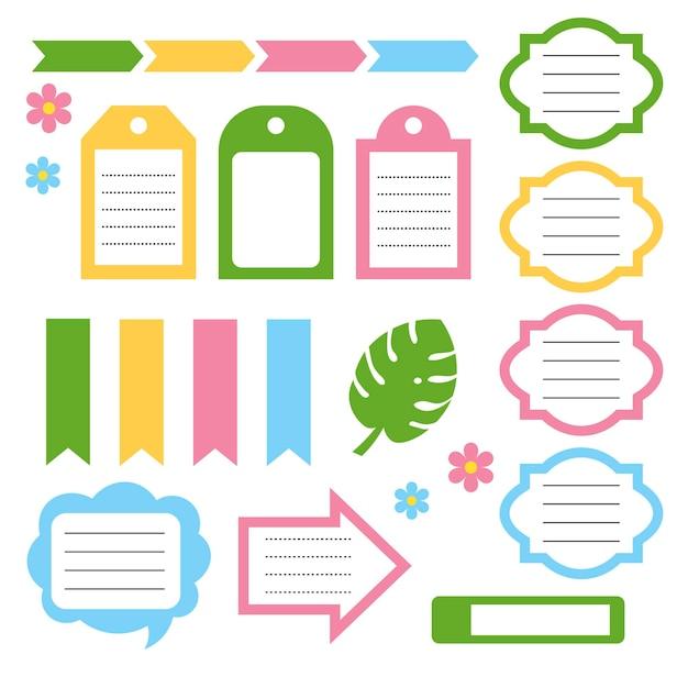 Conjunto de planejador diário de estilo de verão bonito, cartões de nota, adesivos. escola, álbum de recortes de bebê, lista de tarefas, cartões de diário, modelo para impressão de planejador. ilustração vetorial. estilo simples. bom para crianças.