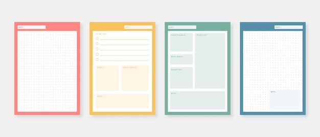 Conjunto de planejador e lista de tarefas modelo de planejador diário semanal mensal