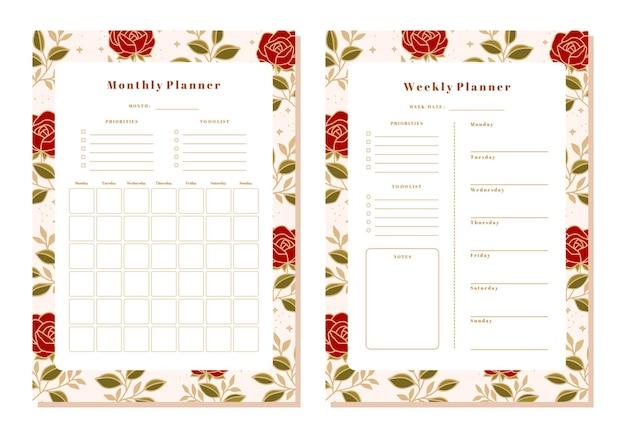 Conjunto de planejador floral mensal e semanal com elementos de rosa e folha