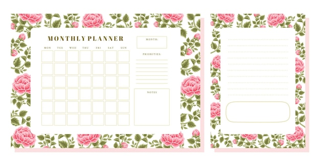 Conjunto de planejador mensal de flor rosa vintage e modelo de memorando