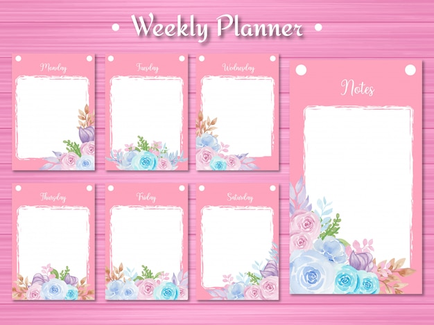 Conjunto de planejador semanal com lindas flores em aquarela