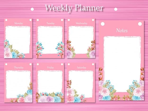 Conjunto de planejador semanal com lindas flores roxas e azuis