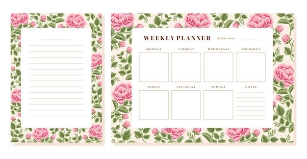 Conjunto de planejador semanal de flores rosa vintage e modelo de memorando