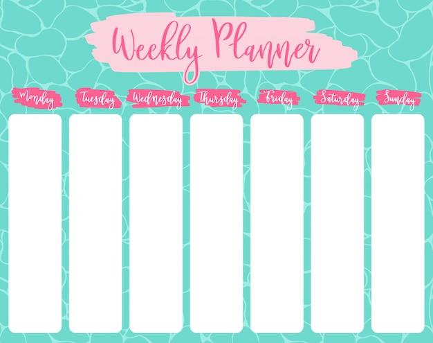 Conjunto de planejador semanal e diário.