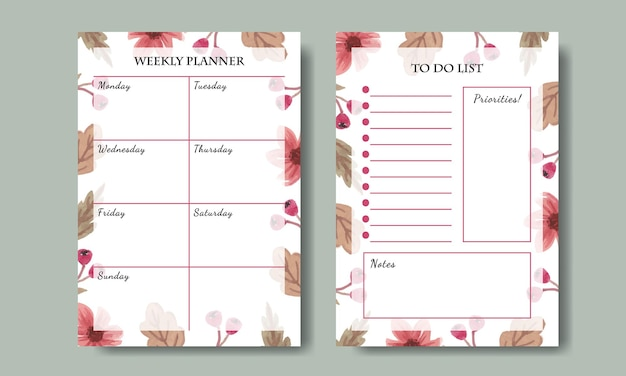 Conjunto de planejador semanal e modelo de lista de tarefas com fundo floral rosa aquarela pintado à mão para impressão