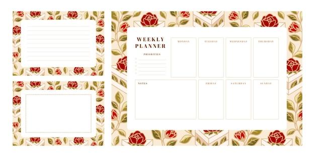 Conjunto de planejador semanal, modelos de calendário escolar com bolo desenhado à mão, elementos de flor rosa