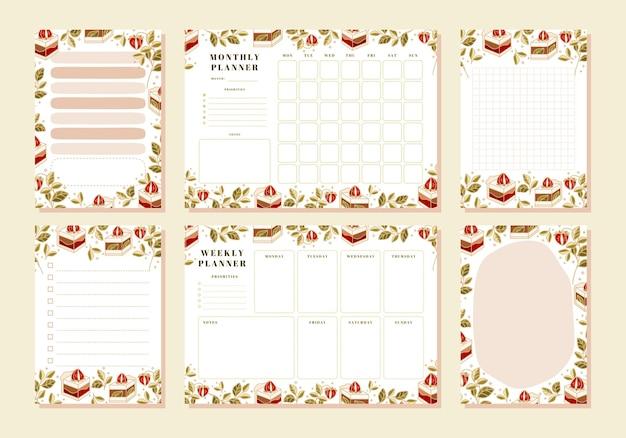 Conjunto de planejador semanal, planejador mensal, nota, memorando, modelos de calendário escolar com bolo desenhado à mão, florais e elementos de morango