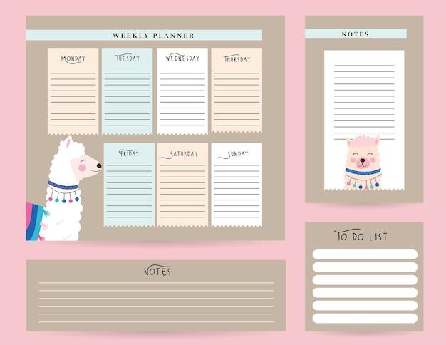 Conjunto de planejadores com ilustração animal mensal e semanal