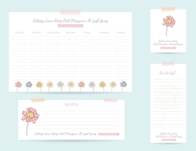 Conjunto de planejadores com ilustração floral mensal e notas