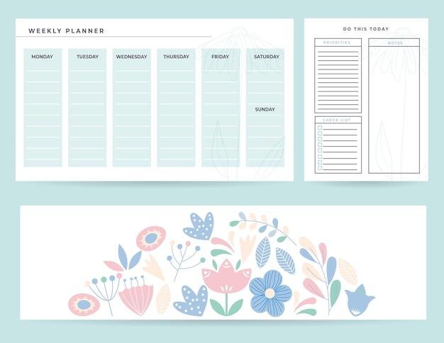 Conjunto de planejadores com ilustração mensal e notas