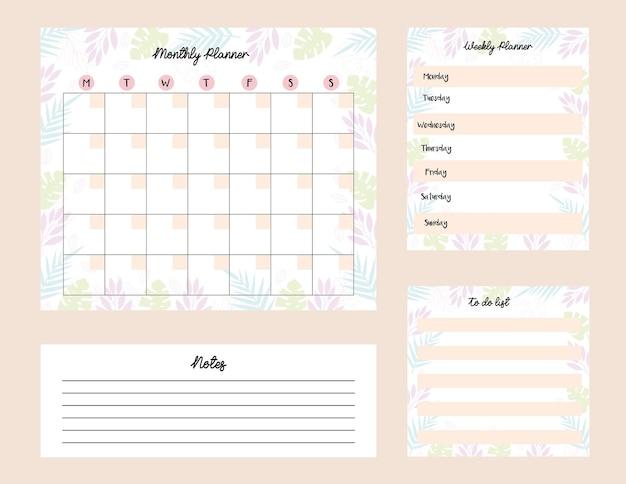 Conjunto de planejadores com ilustração mensal e semanal