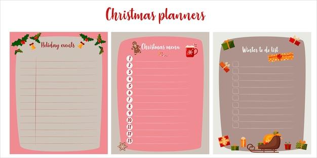 Conjunto de planejadores de natal. menu, planejamento de eventos e o que fazer no inverno