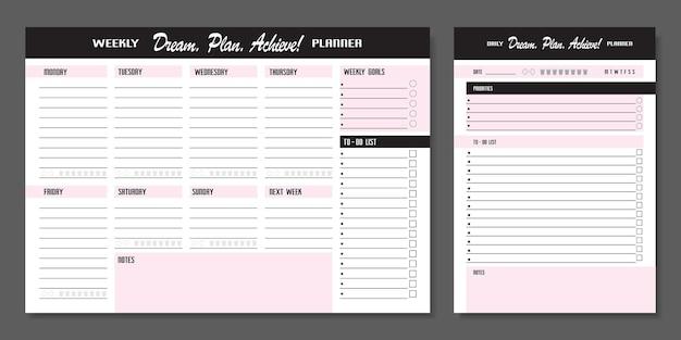 Conjunto de planejadores. modelo de planejador diário e semanal. página de caderno em branco isolada em cinza