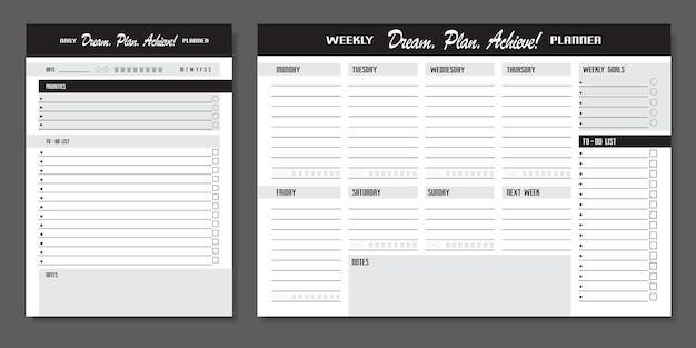 Conjunto de planejadores. modelo de planejador diário e semanal