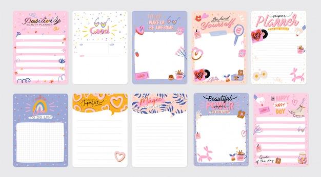 Conjunto de planejadores semanais e listas de tarefas com ilustrações de amor e letras da moda. modelo de agenda, planejadores, listas de verificação e outros artigos de papelaria infantis. .