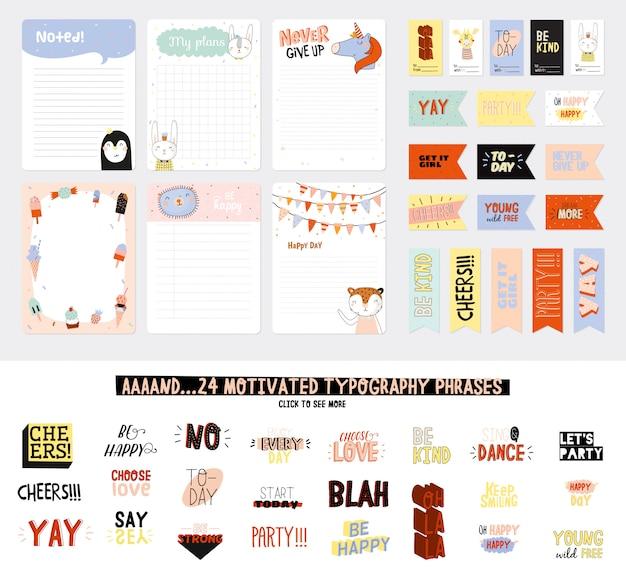 Conjunto de planejadores semanais e listas de tarefas com ilustrações de animais fofos e letras da moda. modelo de agenda, planejadores, listas de verificação e outros artigos de papelaria infantis. .