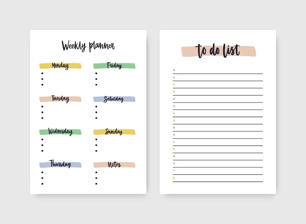 Conjunto de planejadores semanais e modelos de lista de tarefas com títulos destacados por traços de tinta.