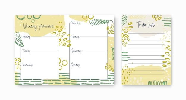 Conjunto de planejadores semanais e modelos de lista de tarefas decorados por traços de tinta vívidos e manchas