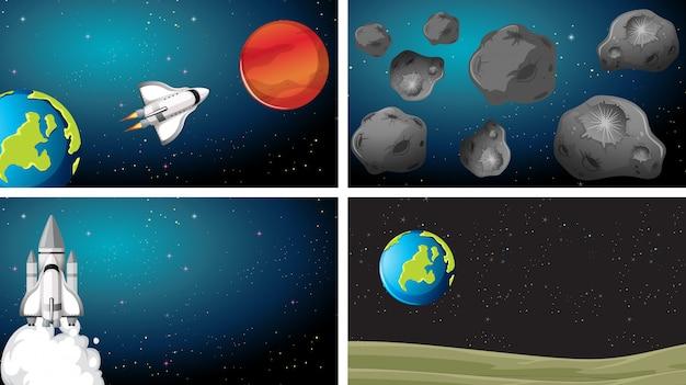 Conjunto de planeta de cena espacial