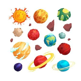 Conjunto de planetas bonito dos desenhos animados objetos de espaço - sol, lua, marte, mercúrio, júpiter, vênus, terra. planetas de fantasia.