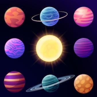 Conjunto de planetas brilhantes dos desenhos animados