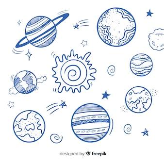 Conjunto de planetas coloridos da via láctea
