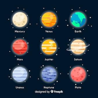 Conjunto de planetas da via láctea colorido