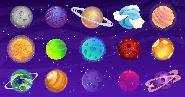 Conjunto de planetas de desenho animado, design de jogo colorido do universo