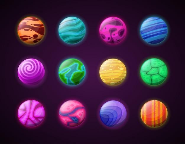 Conjunto de planetas de desenhos animados.