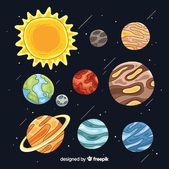 Conjunto de planetas desenhados à mão